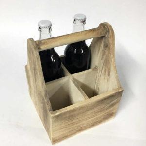 Ξύλινη βάση κρασιών με χερούλι
