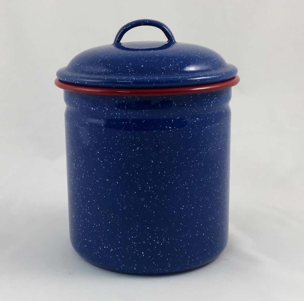 Βάζο με καπάκι εμαγιέ μπλε