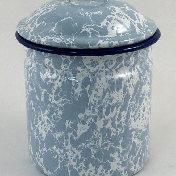 Βάζο με καπάκι εμαγιέ γαλάζιο