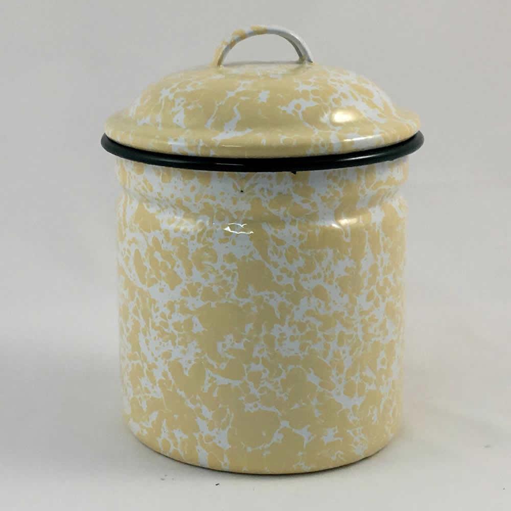 Βάζο με καπάκι εμαγιέ κίτρινο