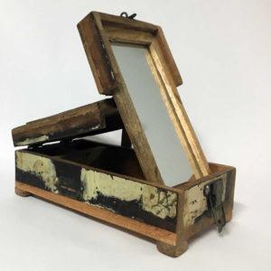 Κουτί αποθήκευσης ξύλινο με καθρέφτη