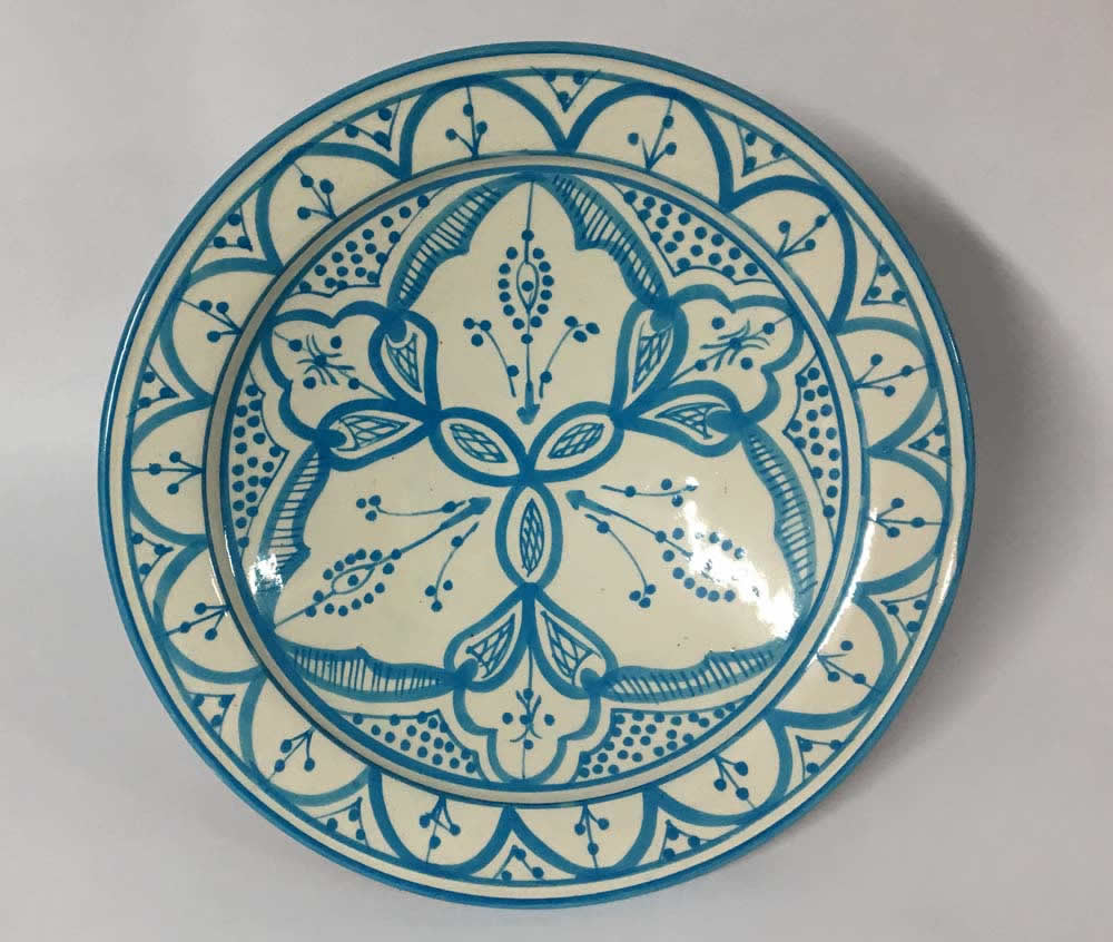 Πιάτο κεραμικό γαλάζιο - λευκό