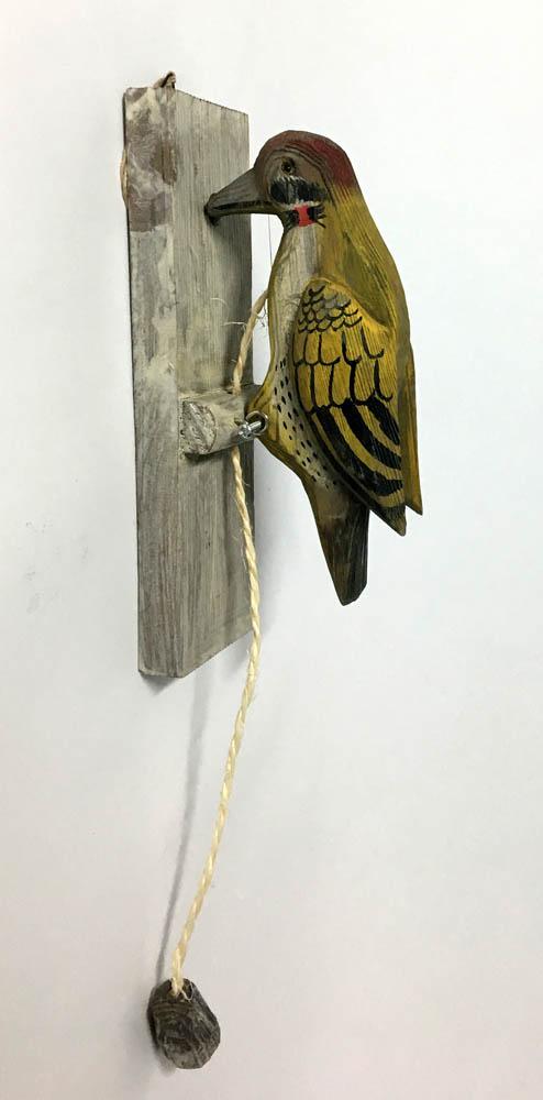 Πουλί - ρόπτρο ξύλινο (κίτρινο)