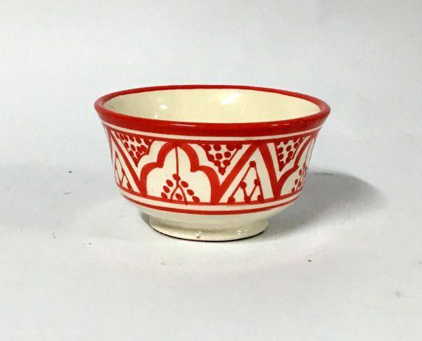 Μπωλ κεραμικό κόκκινο -λευκό (13cm)