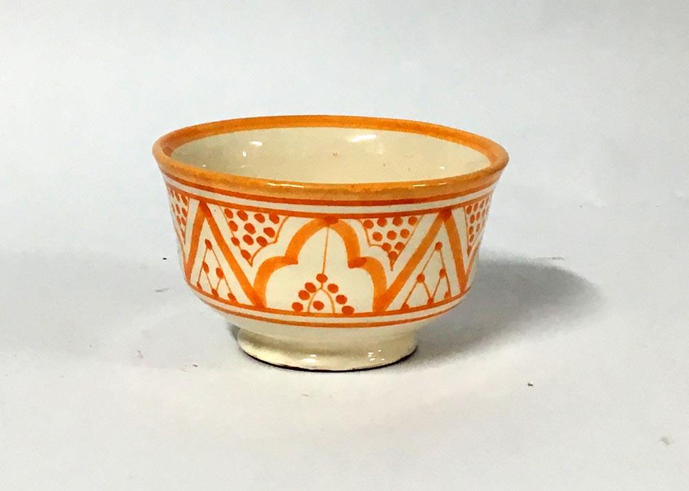Μπωλ κεραμικό πορτοκαλί -λευκό (13cm)